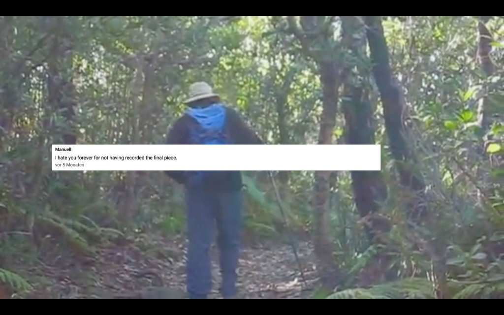 greg going back in the bush and a manuell commenting I hat you forever for not having recorded the final piece.