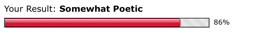 your result: somewhat poetic 86%